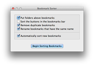 Bookmark Sorter's Main Window